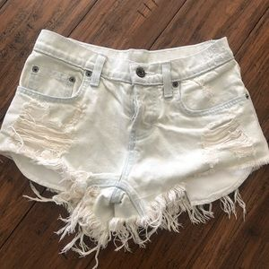 LF very light wash high waisted distressed shorts